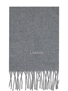 Lanvin-Sciarpa Logo in lana grigia