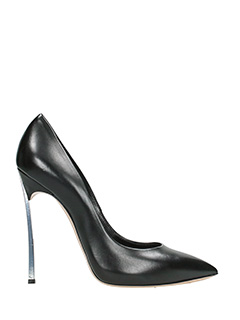 Casadei-blade  black leather pumps