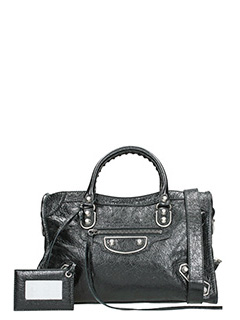 Balenciaga-Met city  black leather bag