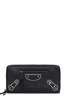 Balenciaga-Portafoglio Metallic Continental in pelle nera