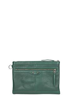Balenciaga-Pochette Clip Medium Zip in pelle verde