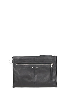 Balenciaga-Pochette Clip Medium Zip in pelle nera