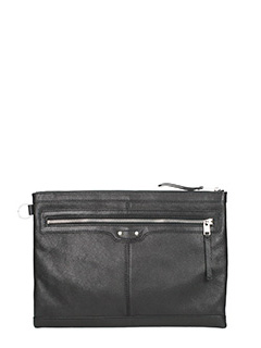 Balenciaga-Pochette Clip Large Zip in pelle nera