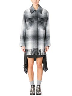 T by Alexander Wang-Cappotto Oversized in lana check grigia