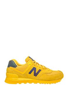 New Balance-Sneakers 574 in pelle e camoscio giallo