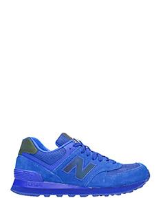 New Balance-Sneakers 574 in pelle e camoscio blue