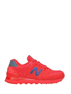 New Balance-Sneakers 574 in pelle e camoscio rosso