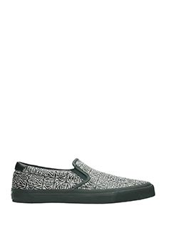 Kenzo-Sneakers Slip On Logo in pelle bianca nera