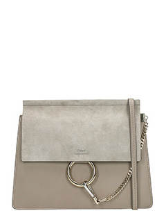Chloé-Borsa Faye Media in camoscio e pelle motty grey