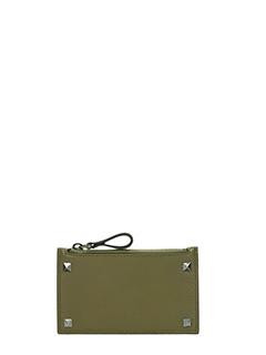 Valentino-Portafoglio Zip in pelle verde