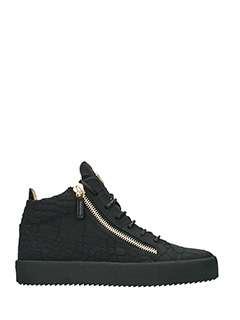 Giuseppe Zanotti-Sneakers Kriss Mid in pelle nera -stampa coccodrillo