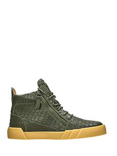 Giuseppe Zanotti-Sneakers  The Shark mid in pelle verde -stampa coccodrillo-due zip laterali