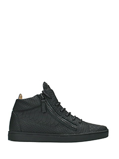 Giuseppe Zanotti-Sneakers Mid in pelle nera stampa rettile
