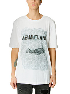 Helmut Lang-T-Shirt Box Fit  in cotone bianco
