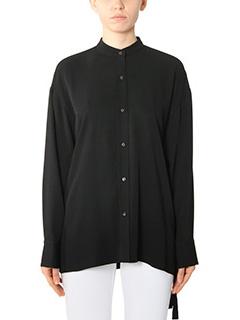 Helmut Lang-Camicia Back Overlap in seta nera
