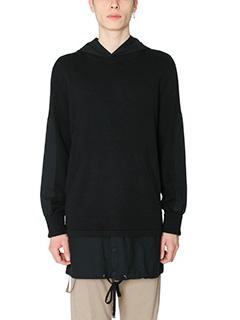 Helmut Lang-Maglia Trooper Hoodie in lana e cotone nero