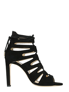 Jimmy Choo-Sandali Hitch in camoscio nero