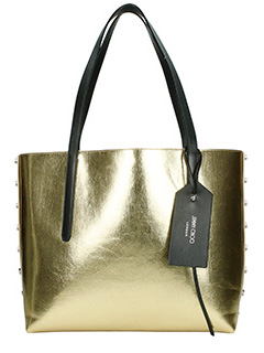 Jimmy Choo-Borsa Twist East west in pelle oro antracite