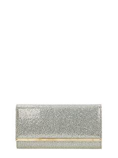 Jimmy Choo-Clutch Maia in tessuto glitter champagne