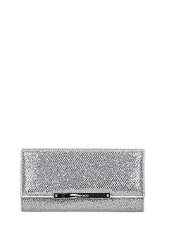 Jimmy Choo-Clutch Marilyn in tessuto glitter argento