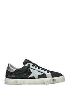 Golden Goose Deluxe Brand-Sneakers May in pelle e camoscio nero argento