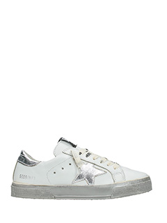 Golden Goose Deluxe Brand-Sneakers May in pelle bianca argento