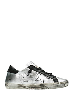 Golden Goose Deluxe Brand-Sneakers Superstar in pelle argento nera