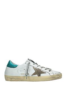 Golden Goose Deluxe Brand-Sneakers Superstar in pelle bianca petrolio
