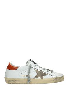 Golden Goose Deluxe Brand-Sneakers Superstar in pelle bianca rossa