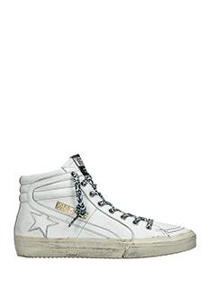 Golden Goose Deluxe Brand-Sneakers Slide in pelle bianca