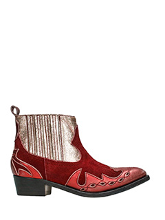 Golden Goose Deluxe Brand-Clara red suede and leather ankle boots