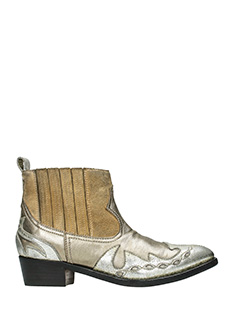 Golden Goose Deluxe Brand-Clara gold suede and leather ankle boots