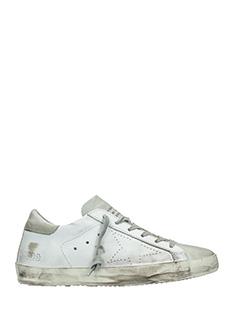 Golden Goose Deluxe Brand-Sneakers Superstar in pelle bianca grigia