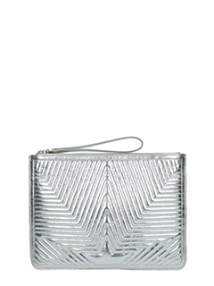 Golden Goose Deluxe Brand-Juliette silver leather clutch