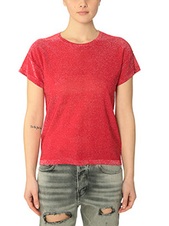 Golden Goose Deluxe Brand-T-Shirt Round Neck Star in lurex rosso