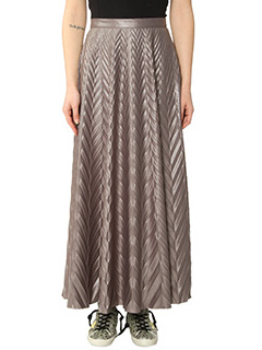 Golden Goose Deluxe Brand-Gonna Skirt Zephir in tessuto jacquard brillante grigio