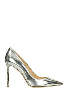 Jimmy Choo-Decollet� Romy in pelle metal argento