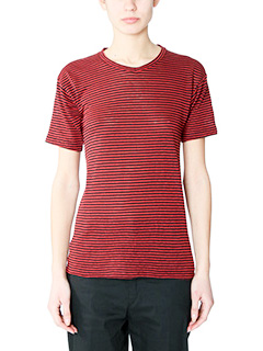 Isabel Marant Etoile-T-Shirt Andreia in cotone rosso nero