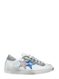 Two Star-Sneakers Low Star  in pelle bianca argento