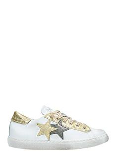 Two Star-Sneakers Low Star  in pelle bianca oro