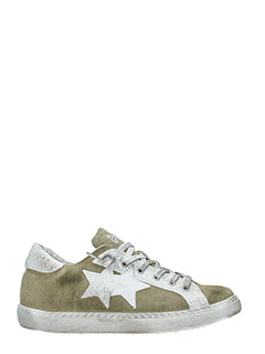 Two Star-Sneakers Low Star  in tessuto khaky bianco