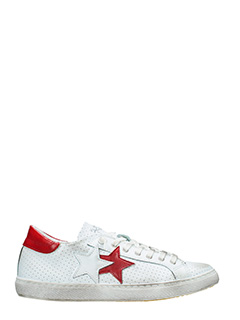 Two Star-Sneakers Low Star  in pelle bianca rossa
