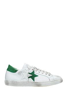 Two Star-Sneakers Low Star  in pelle bianca verde