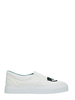 Chiara Ferragni-Sneakers Slip On Flirting glitter bianco