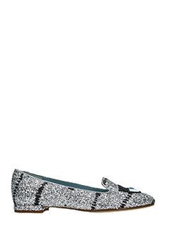 Chiara Ferragni-silver glitter loafers