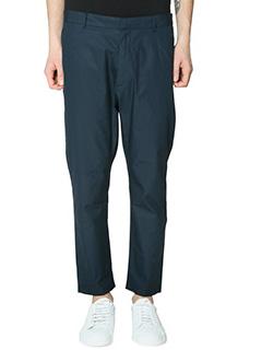 Jil Sander-Pantaloni in cotone blue-tasche