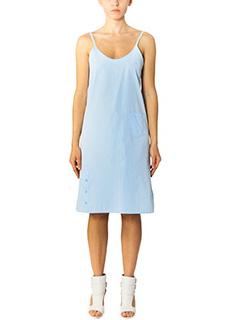 Helmut Lang-Vestito Button Wrap in cotone celeste