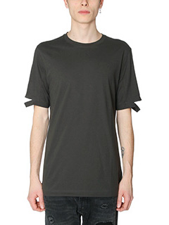 Helmut Lang-T-Shirt T-Shirt Standard Fit Cut Hem in cotone verde