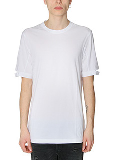 Helmut Lang-T-Shirt T-Shirt Standard Fit Cut Hem in cotone bianco