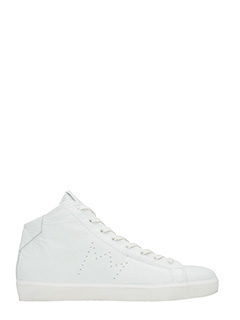Leather Crown-Sneakers Mid  in pelle bianca